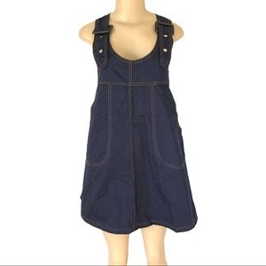 Buckle Strap Open Stitching Pocketed Jean Dress